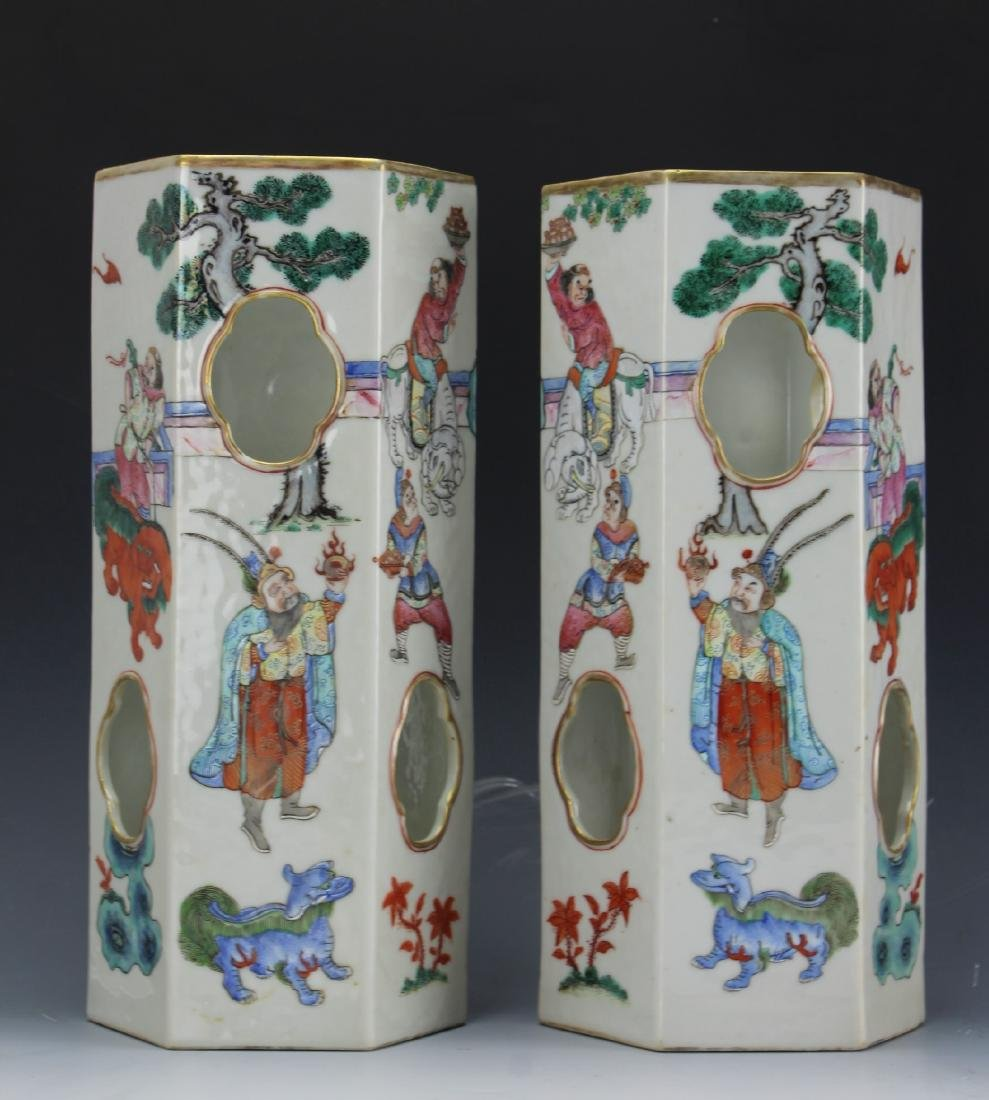 Chinese pair of famille rose porcelain hat stand in