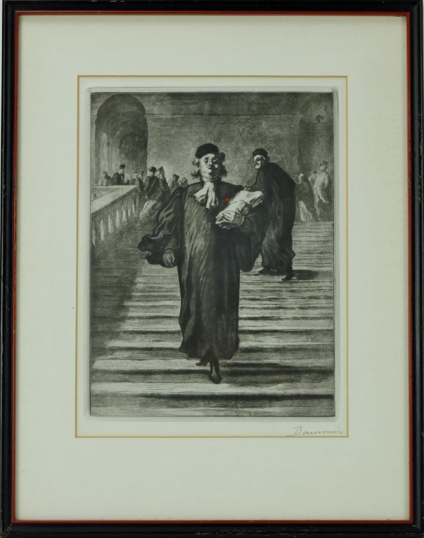 Honoré Daumier signed framed etching