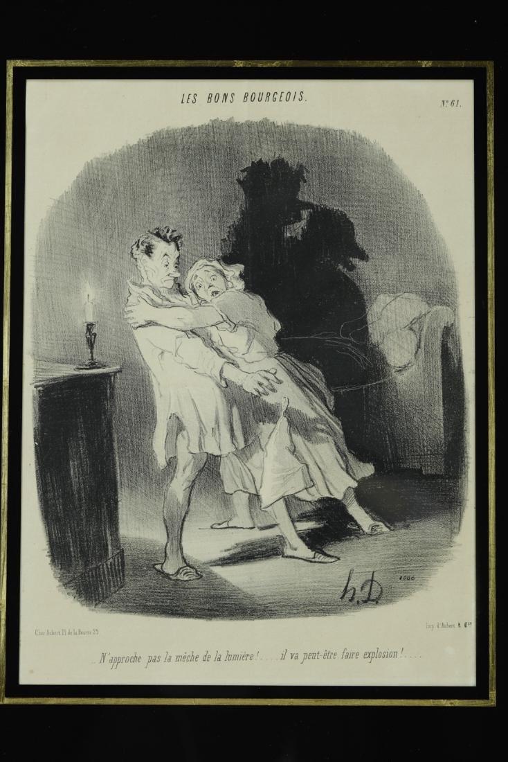 Honoré Daumier framed Les Bons Bourgeois comic print