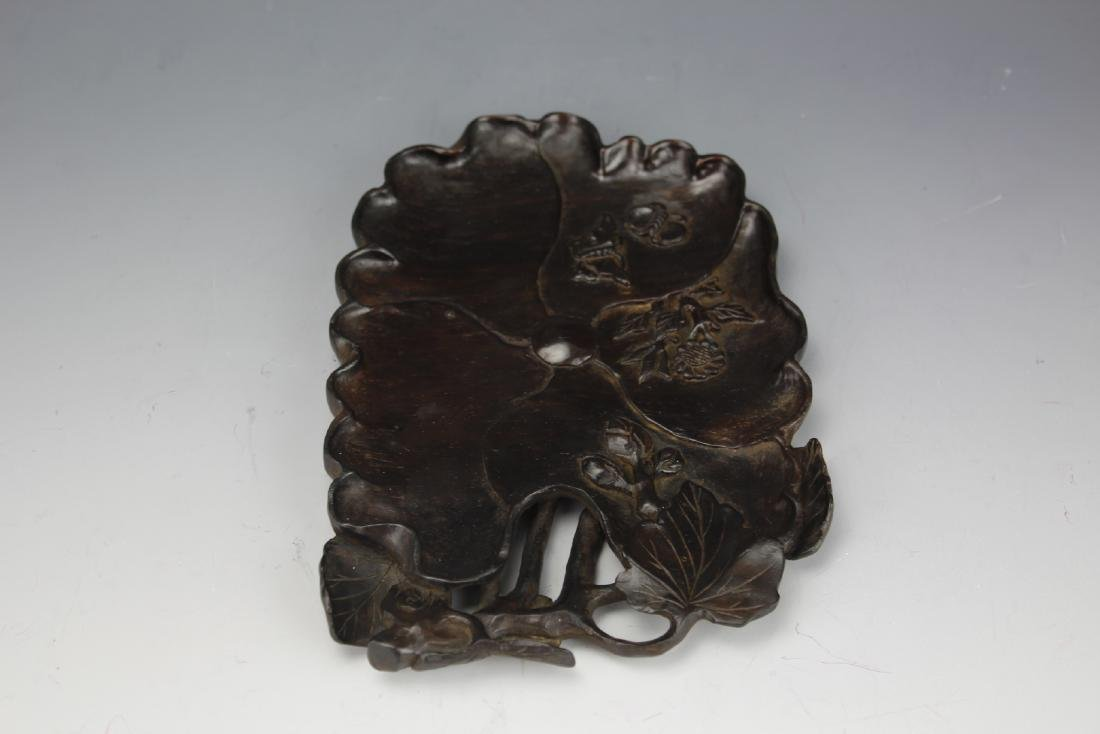 A Chinese Carved Wood Brush Ink Wells
