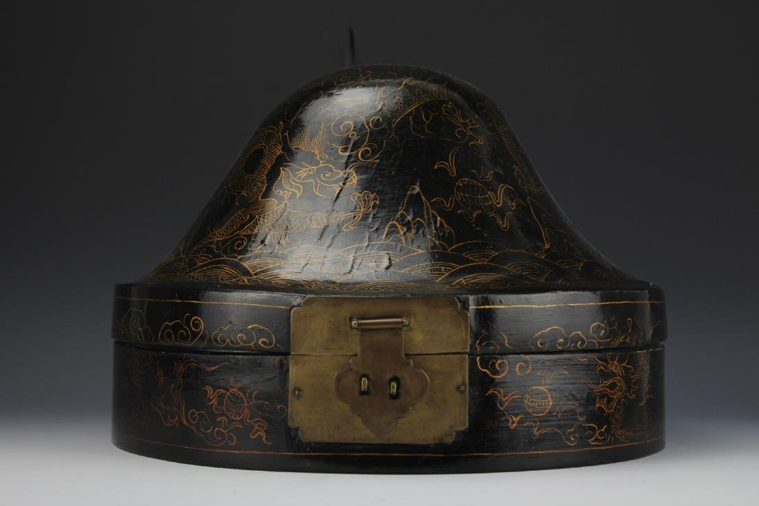 A Court Official Lacquer Hat Box with Brass Hinge