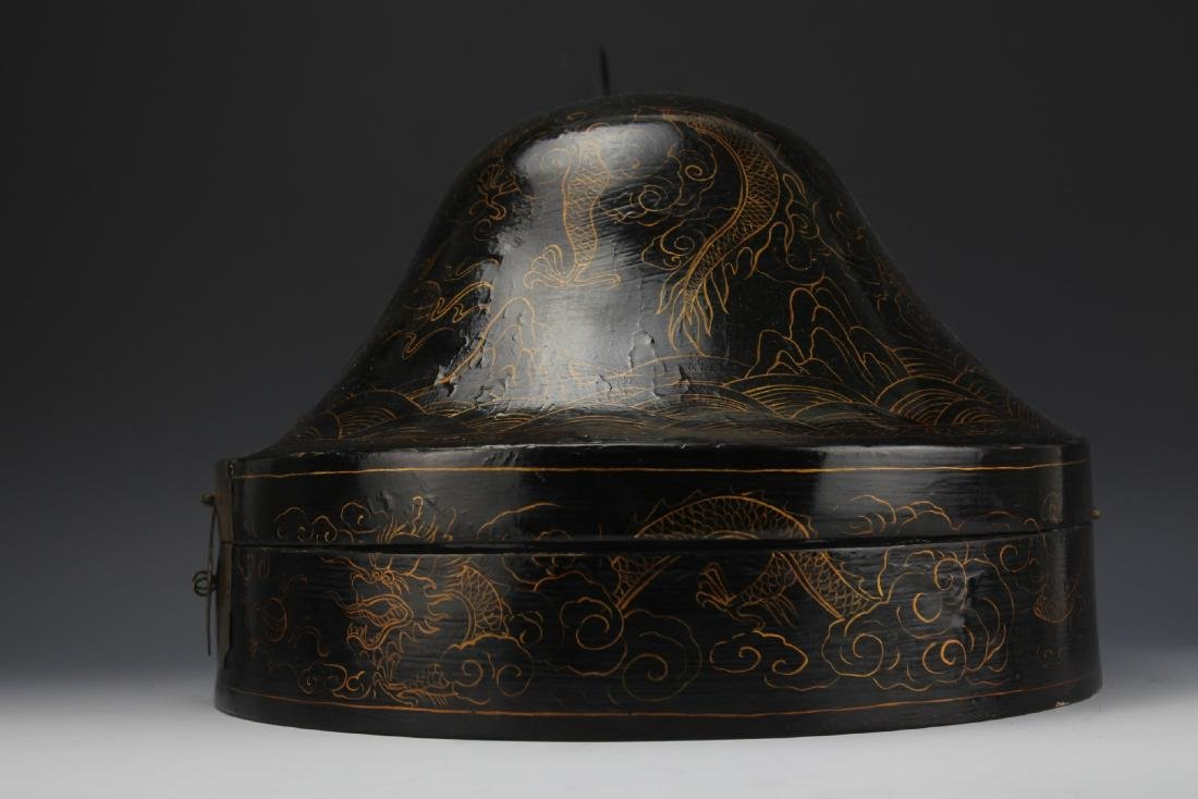 A Court Official Lacquer Hat Box with Brass Hinge - 3