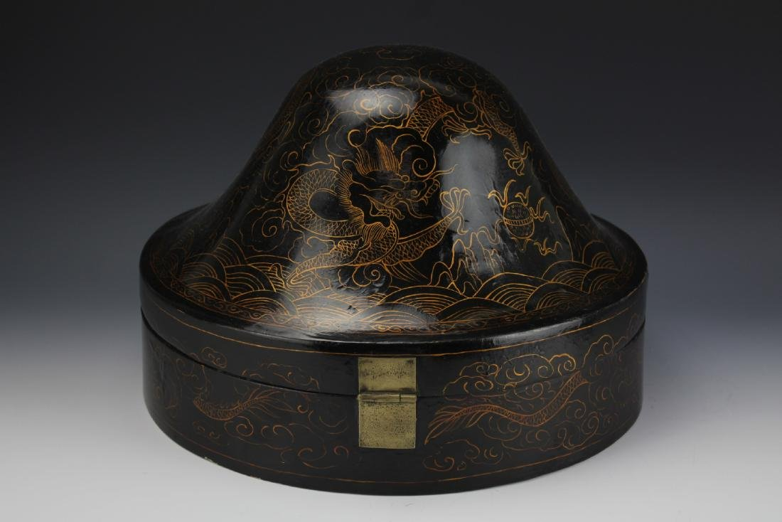 A Court Official Lacquer Hat Box with Brass Hinge - 4