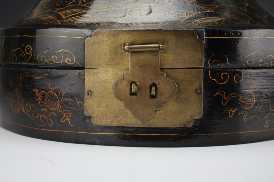 A Court Official Lacquer Hat Box with Brass Hinge - 9