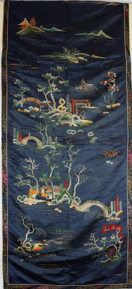 Chinese Embroidered landscape pattern on silk