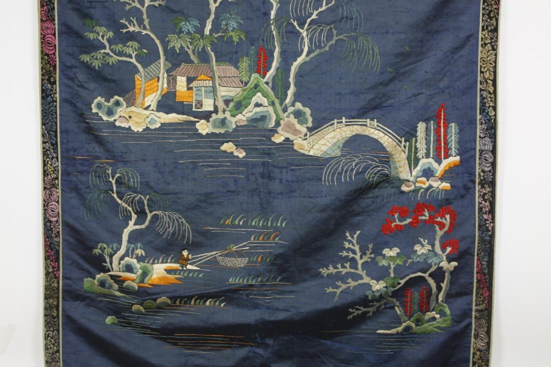 Chinese Embroidered landscape pattern on silk - 2