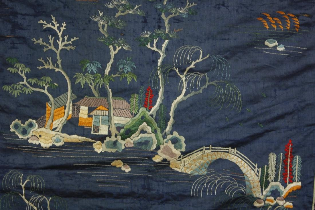 Chinese Embroidered landscape pattern on silk - 6