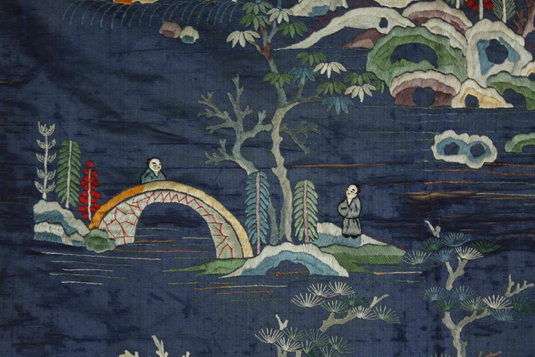 Chinese Embroidered landscape pattern on silk - 7