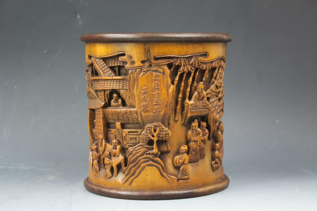 A Chinese Carving Bamboo Pen Holder