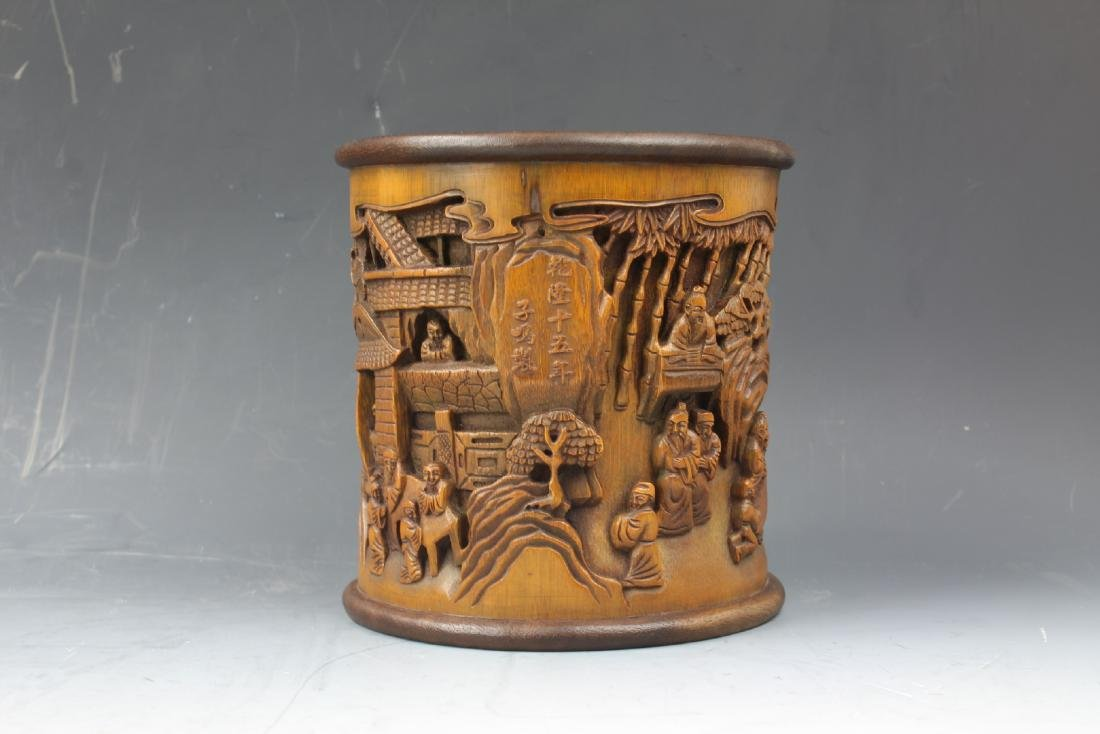 A Chinese Carving Bamboo Pen Holder - 2