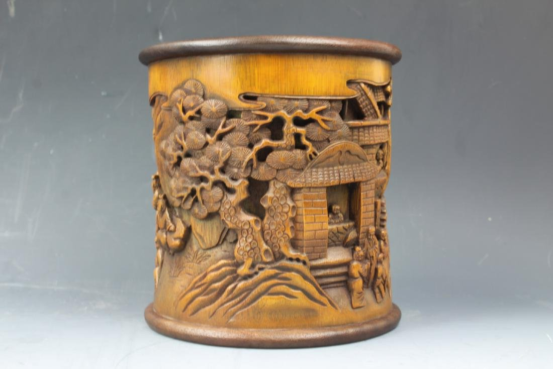 A Chinese Carving Bamboo Pen Holder - 3