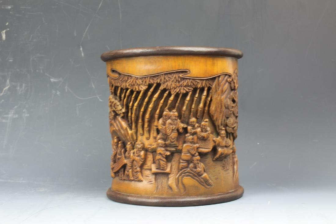 A Chinese Carving Bamboo Pen Holder - 4