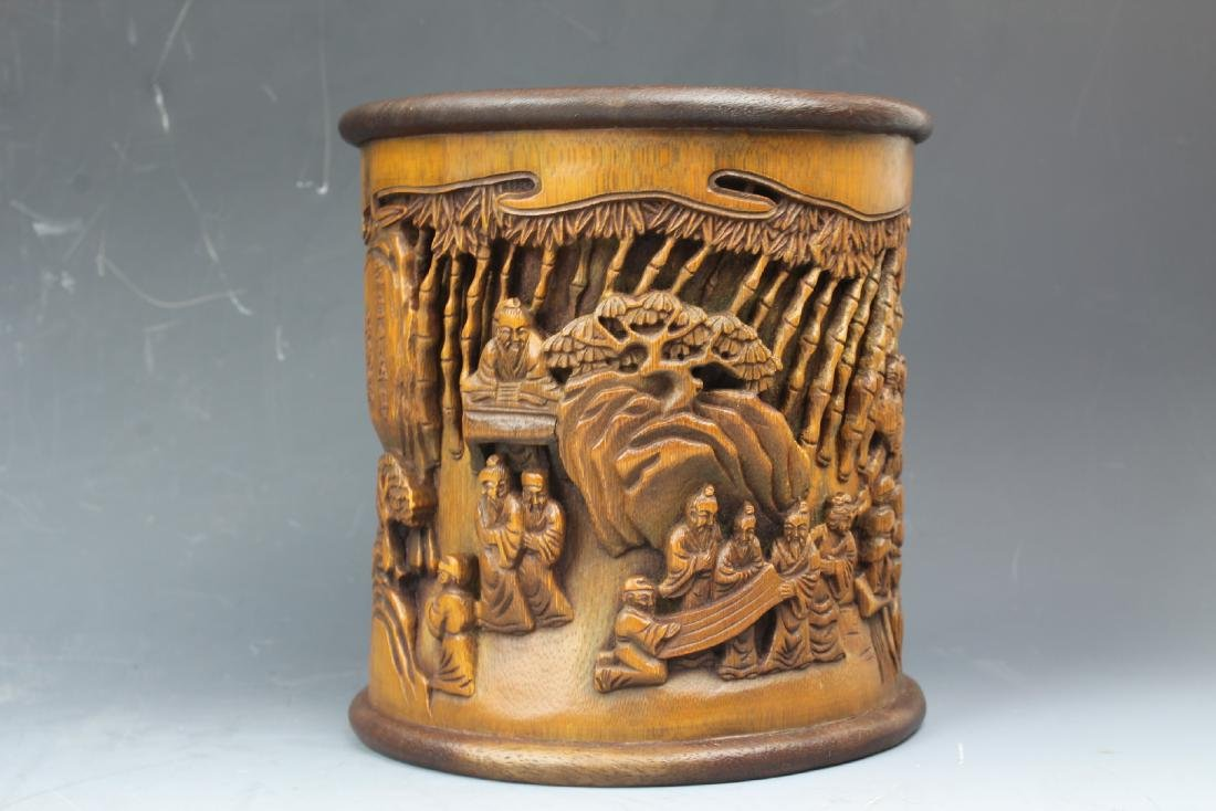 A Chinese Carving Bamboo Pen Holder - 5