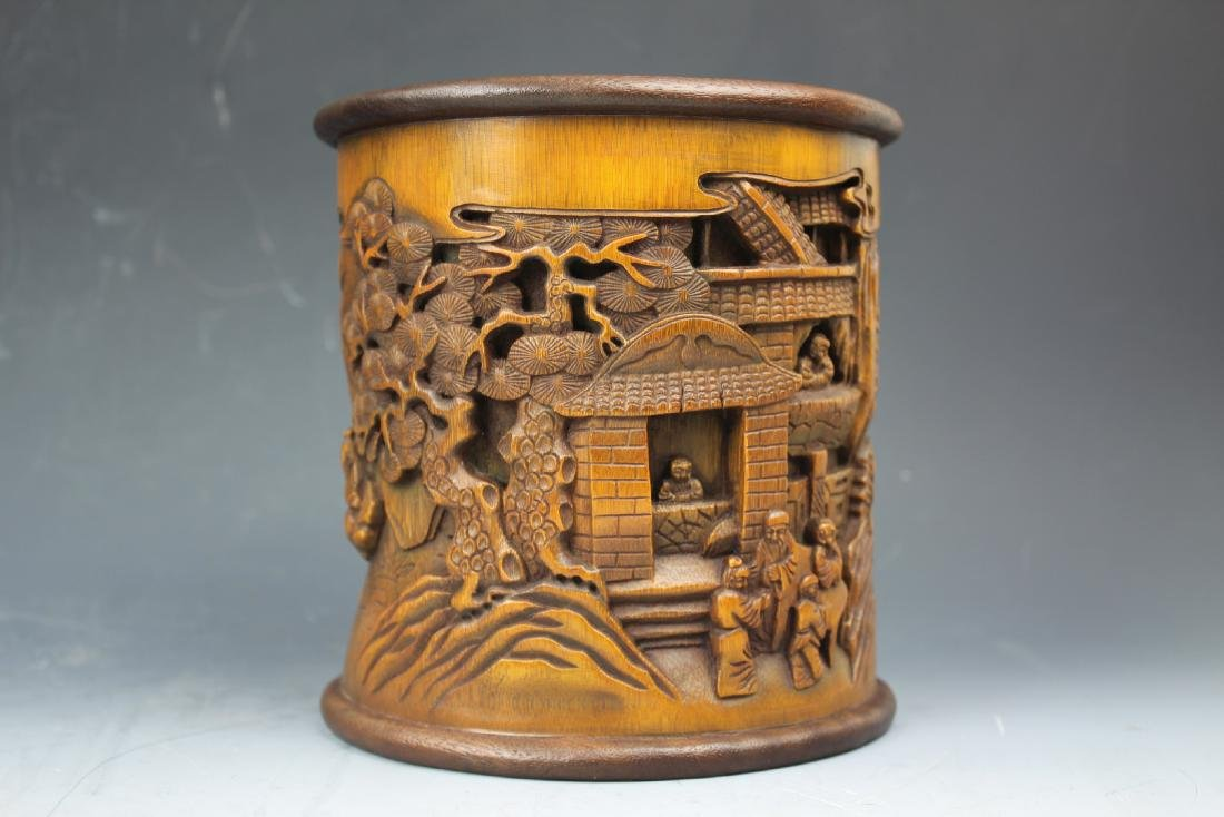 A Chinese Carving Bamboo Pen Holder - 7