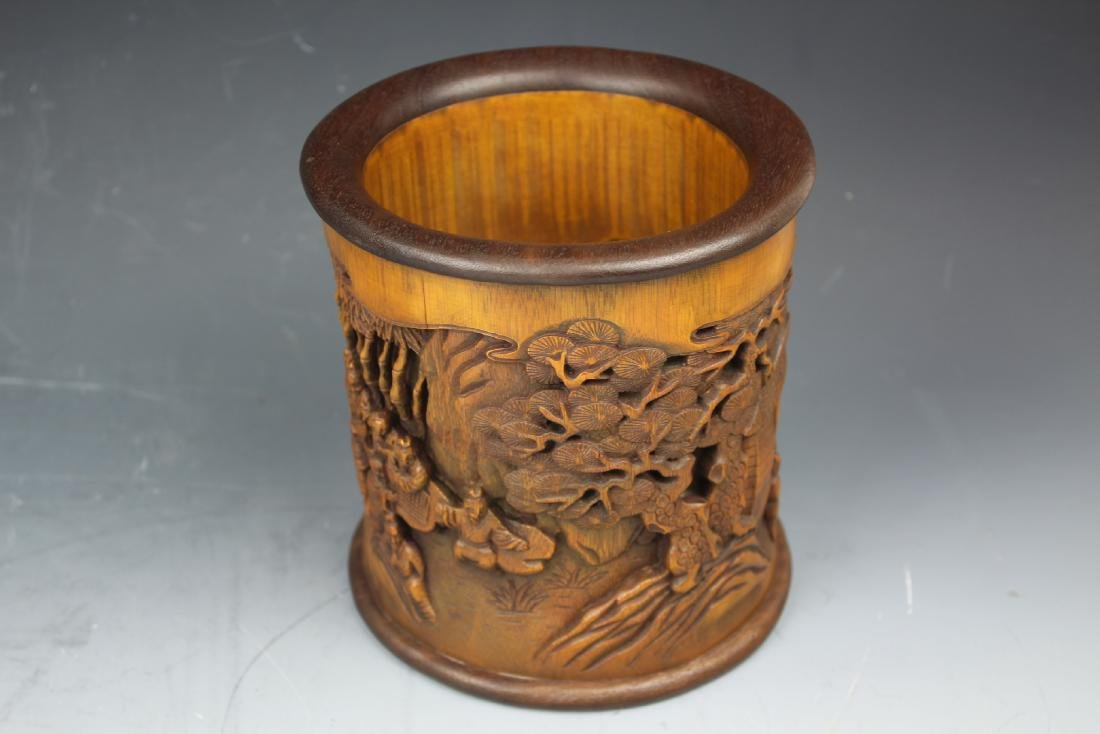 A Chinese Carving Bamboo Pen Holder - 8