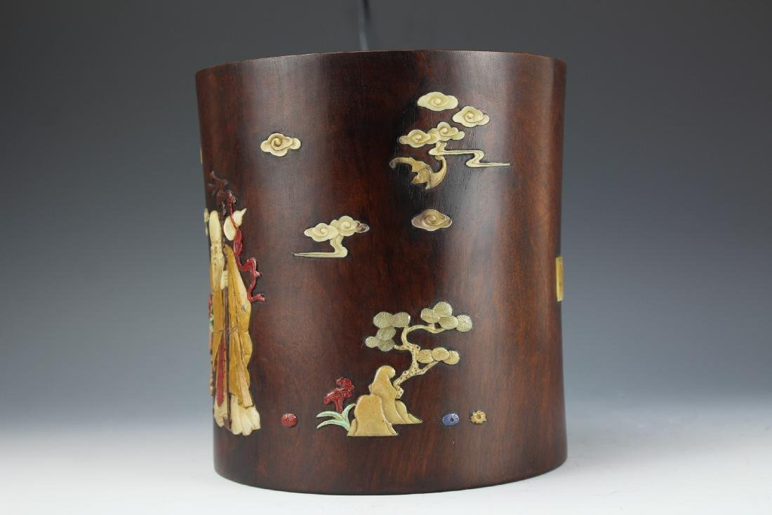 A Chinese Hard Wood Pen Holder - 2