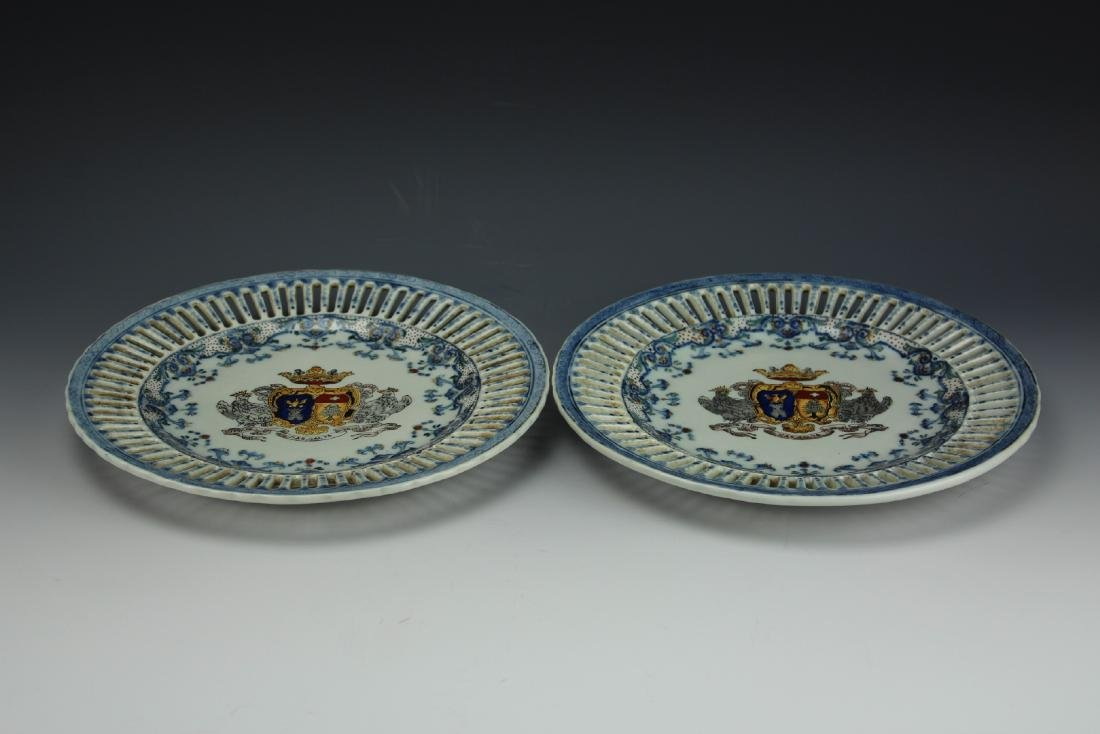 A Pair of Chinese Export Plates from Qing Dynasty by