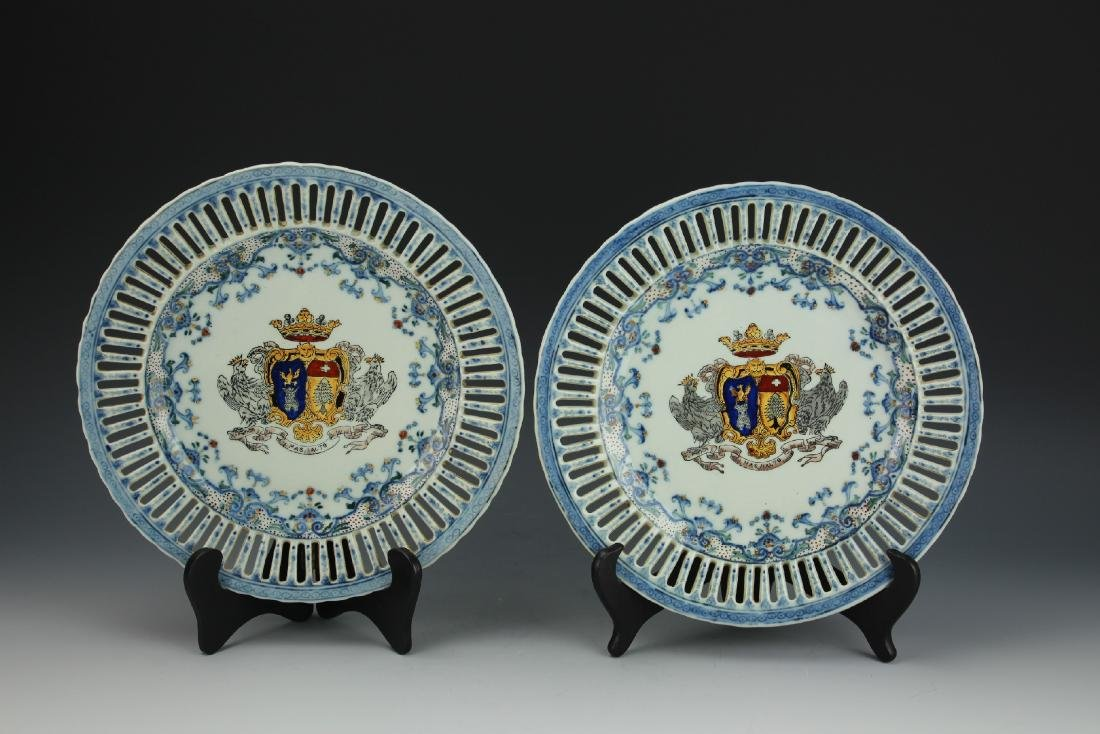 A Pair of Chinese Export Plates from Qing Dynasty by - 3