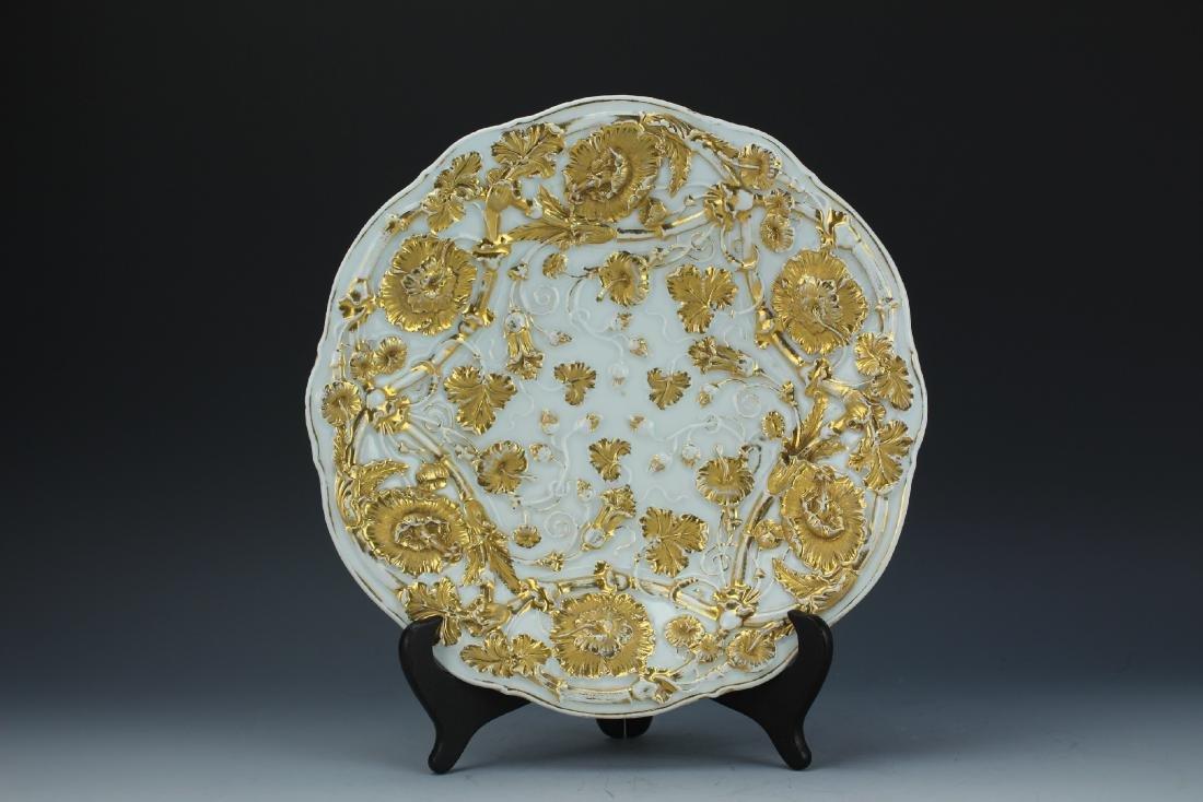 A Vintage 24k Gold Gilt Porcelain Plate by Meissen