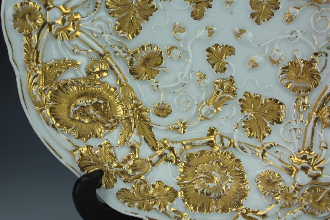 A Vintage 24k Gold Gilt Porcelain Plate by Meissen - 2
