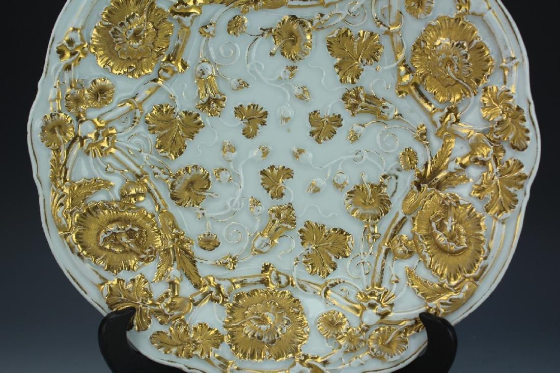 A Vintage 24k Gold Gilt Porcelain Plate by Meissen - 4