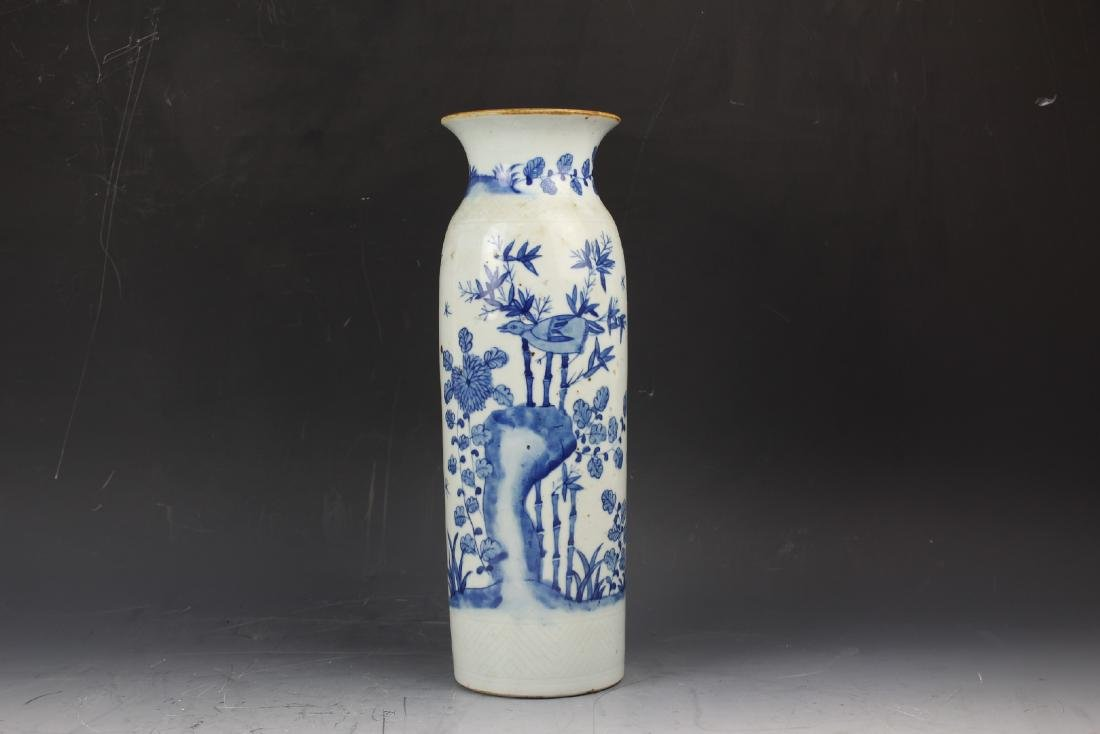 A Blue and White Porcelain Cylindical Vase of Bamboo