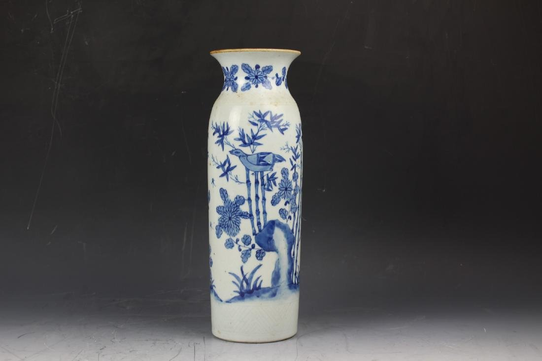 A Blue and White Porcelain Cylindical Vase of Bamboo - 3