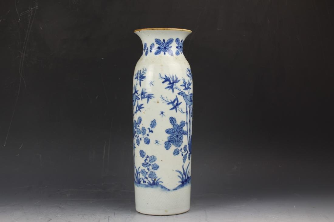 A Blue and White Porcelain Cylindical Vase of Bamboo - 4
