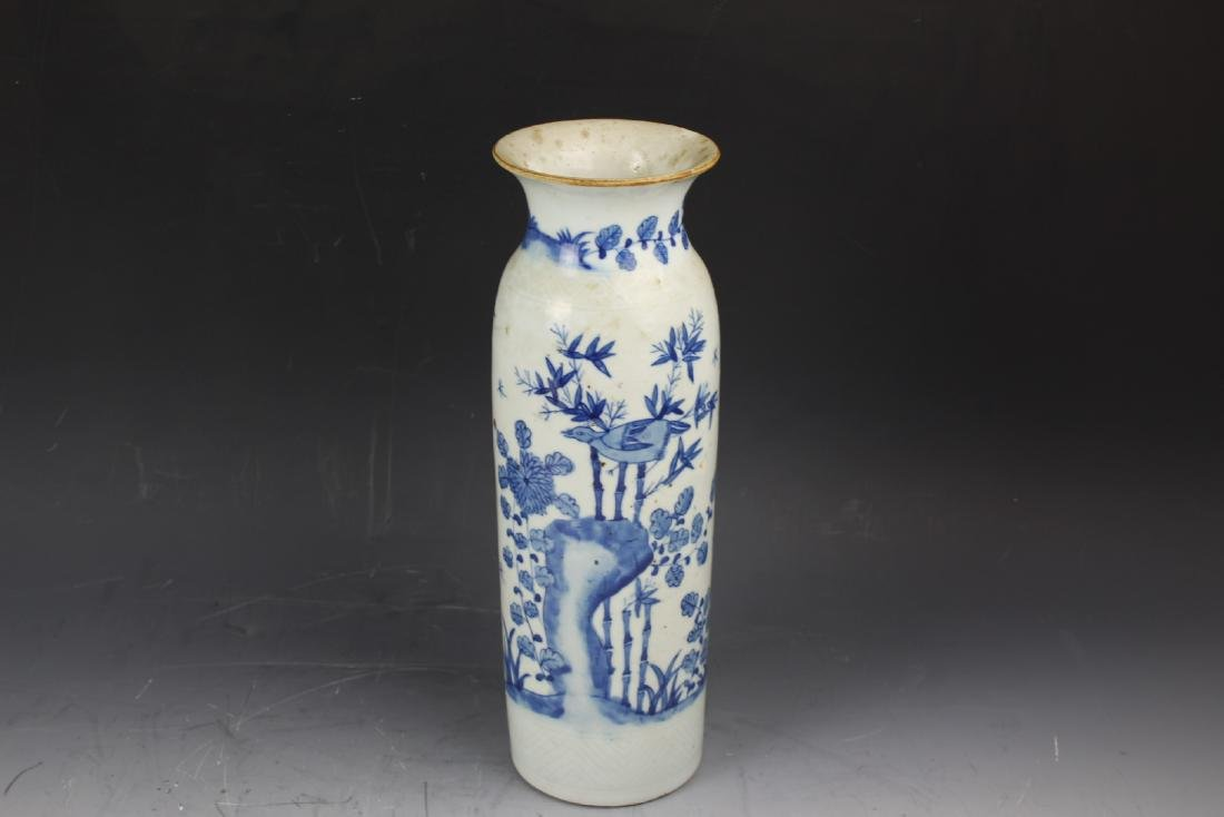 A Blue and White Porcelain Cylindical Vase of Bamboo - 5