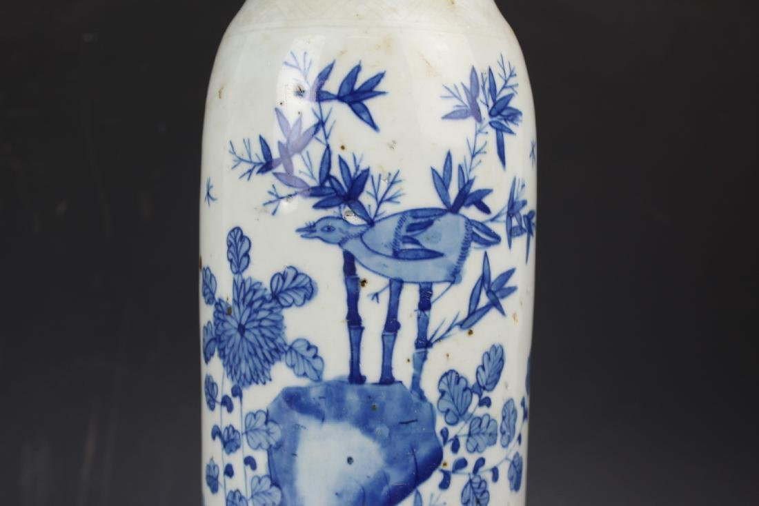 A Blue and White Porcelain Cylindical Vase of Bamboo - 6