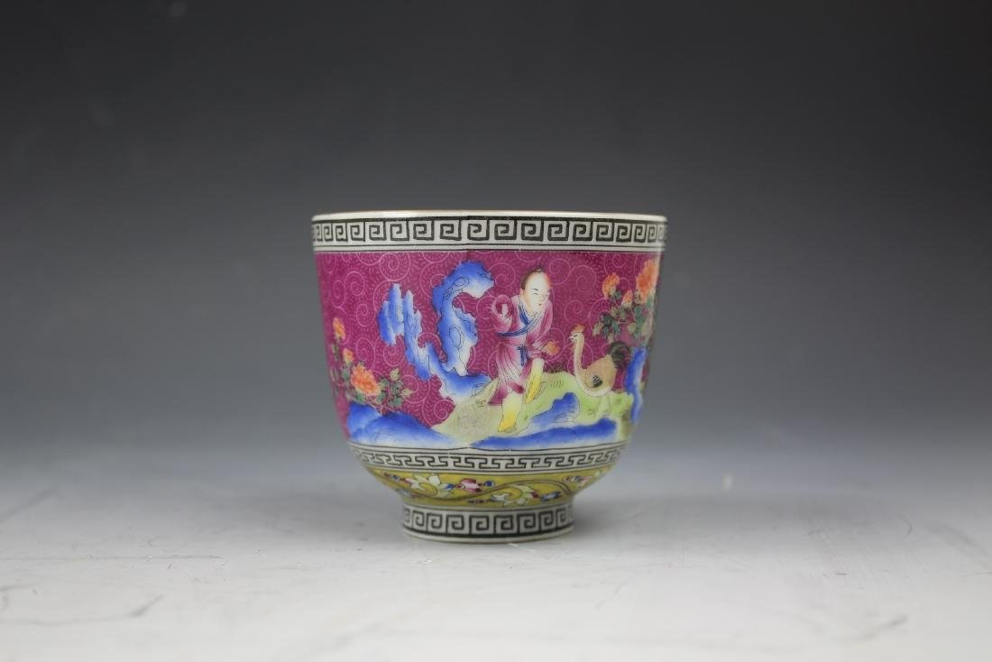 An Enamelled Figural Cup with Qianlong Mark