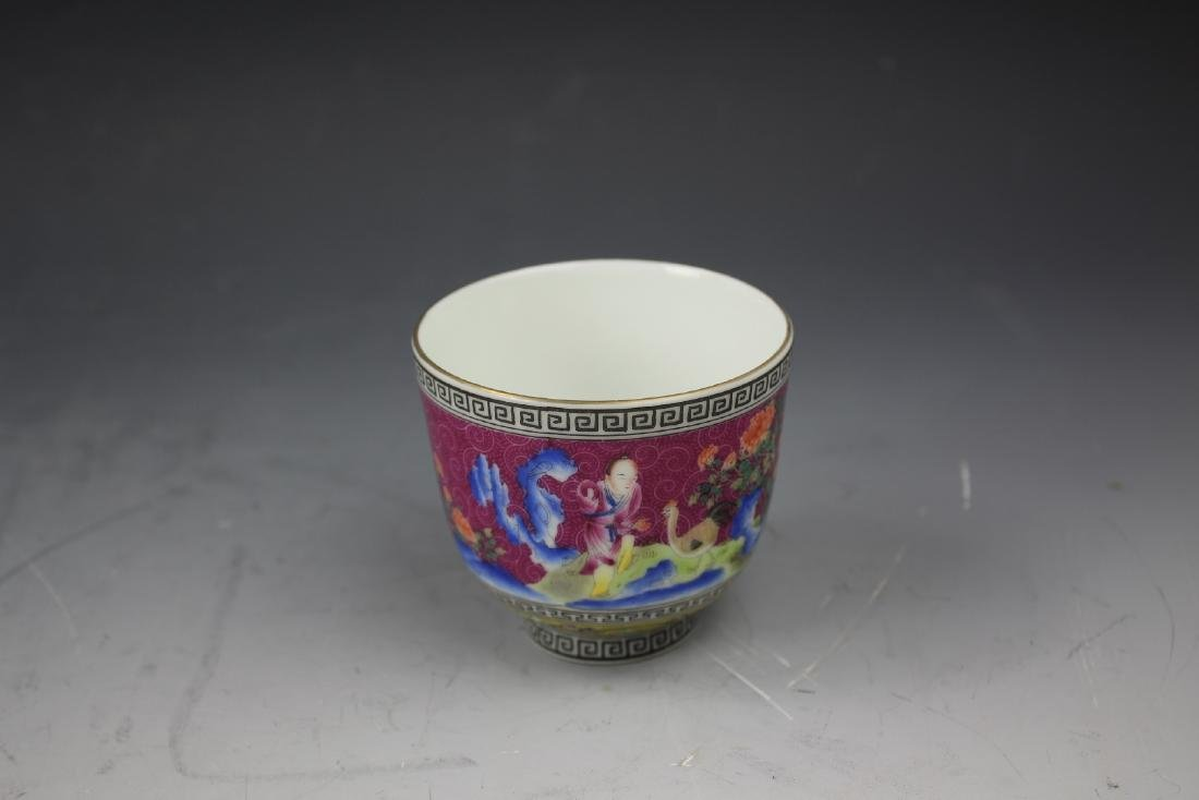 An Enamelled Figural Cup with Qianlong Mark - 5