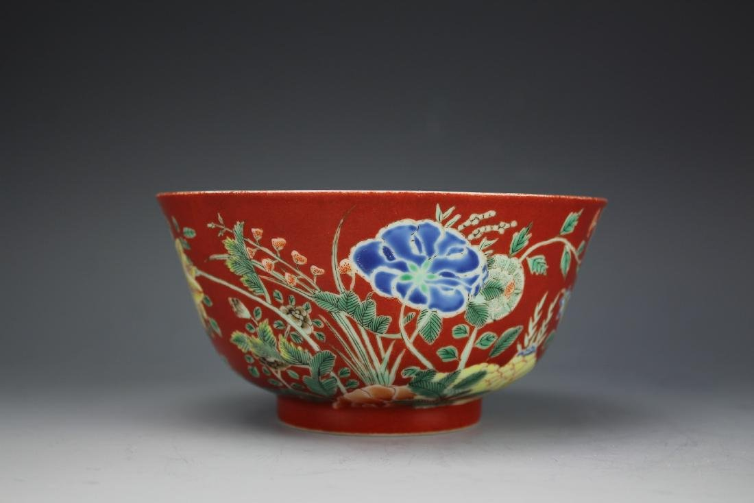 A Red Ground Famille Verte Floral Bowl with Daoguang