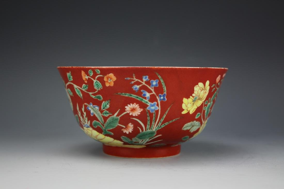 A Red Ground Famille Verte Floral Bowl with Daoguang - 2