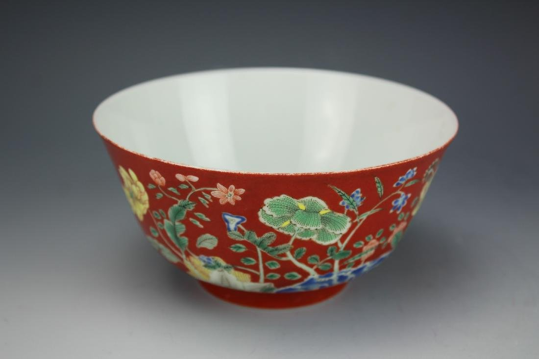A Red Ground Famille Verte Floral Bowl with Daoguang - 3
