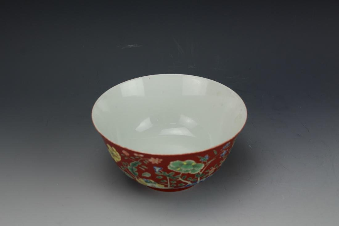 A Red Ground Famille Verte Floral Bowl with Daoguang - 4