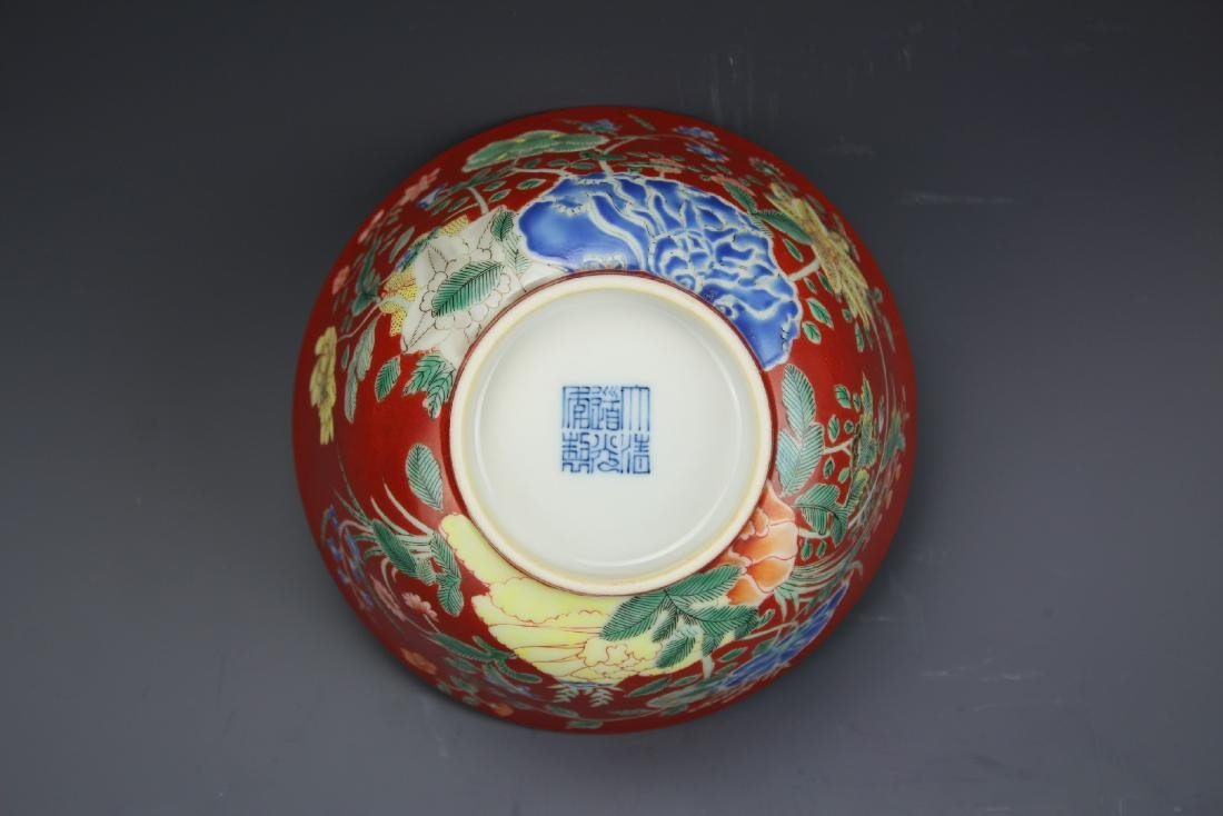 A Red Ground Famille Verte Floral Bowl with Daoguang - 5