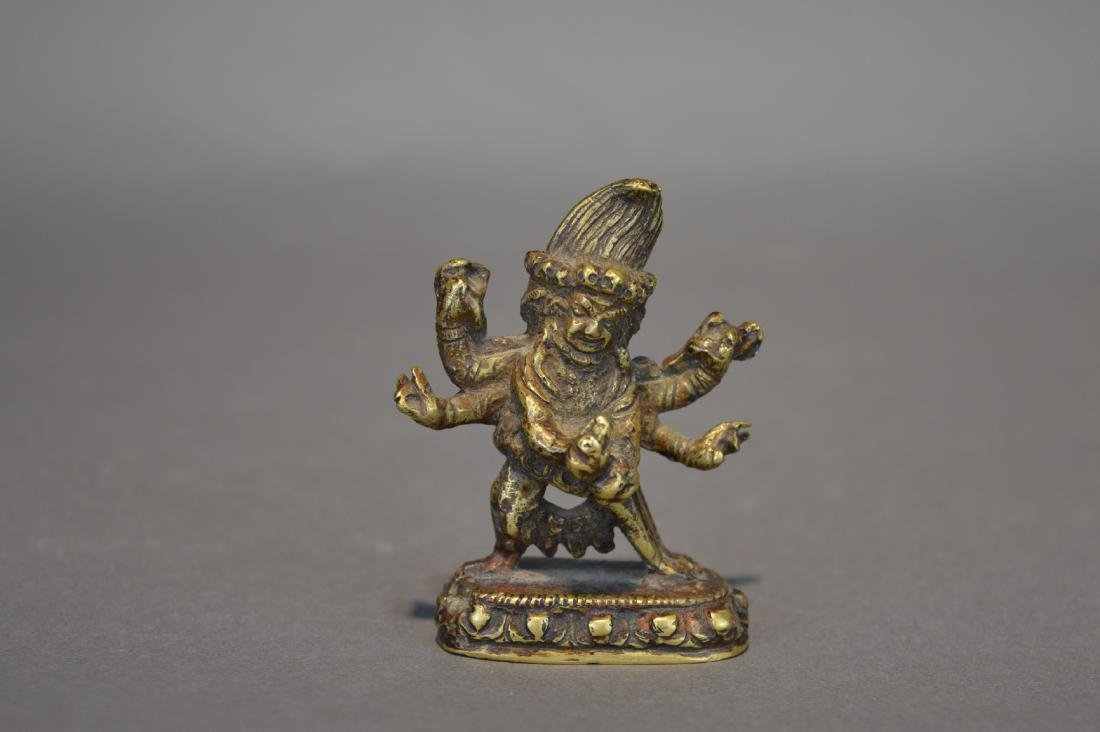 A Gilt Bronze Black Six-Armed Mahakala Guardian Statues - 2