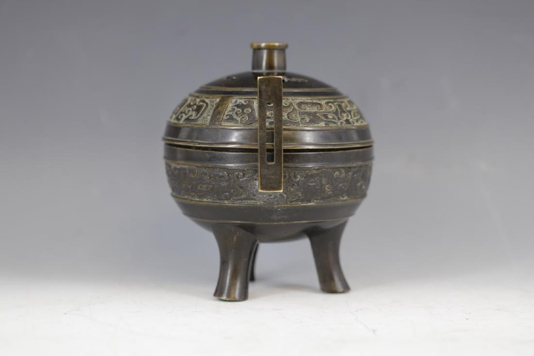 A Bronze Tripod Censer with Cover - 2