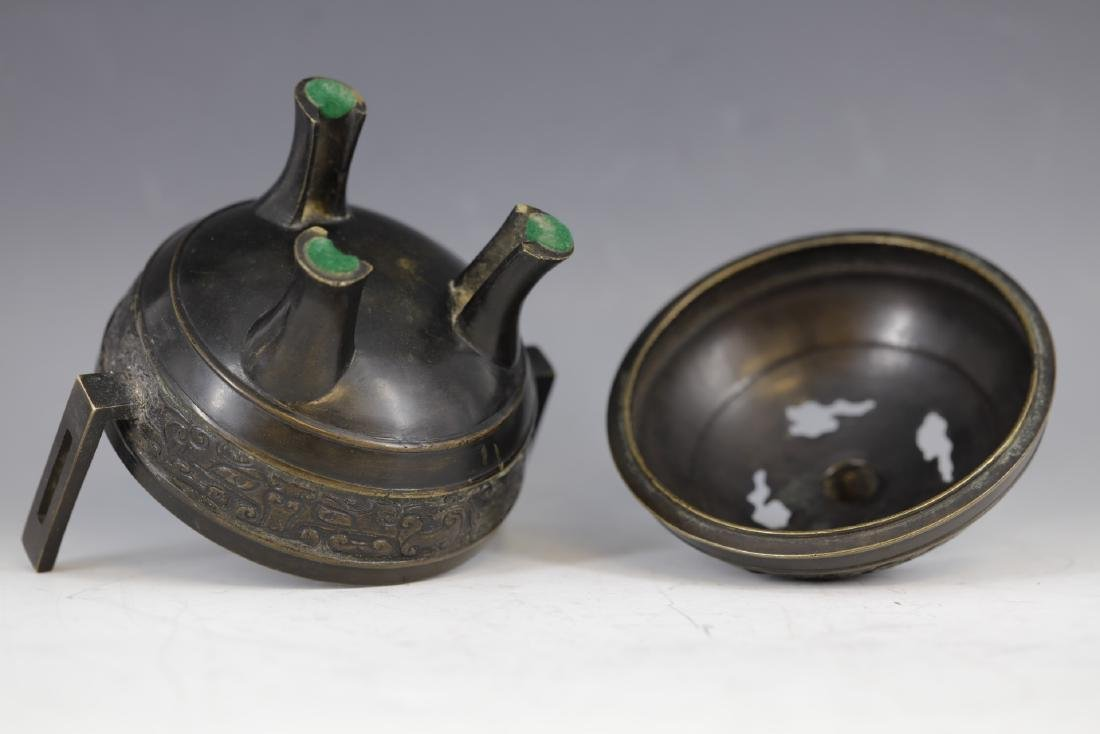 A Bronze Tripod Censer with Cover - 3