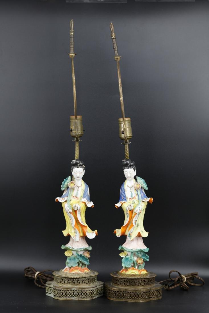 A pair of lamps of beautiful immortals,Tong Rufa Mark - 2