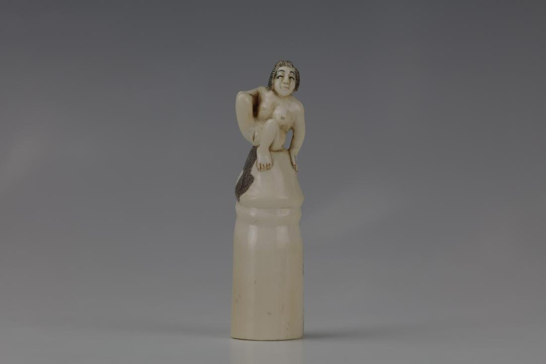 Erotic Netsuke Nude Woman Sitting on Atop Erected