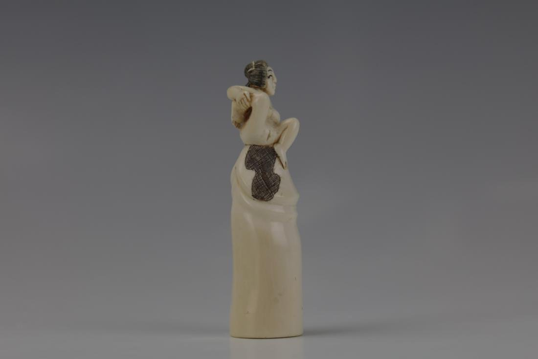 Erotic Netsuke Nude Woman Sitting on Atop Erected - 2