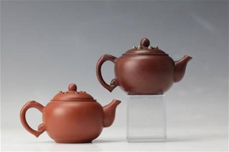 Two Purple Sand Lotus seed Tea Pots with