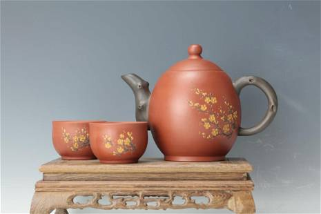 A set of Tea Pot and Cups covering Plum Blossom with