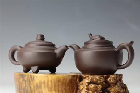 Two Purple Sand Tea Pots with Lijuan Mark and