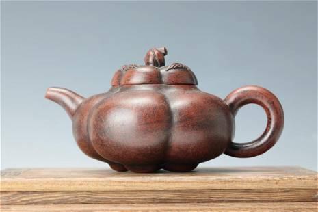 A Plum Blossom Shape Peach Cover Tea Pot with Zhukexin