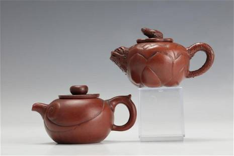 Two Purple Sand Tea Pots with Songlujuan and Jiangyian