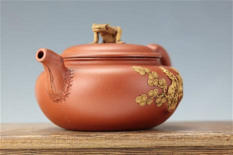 A Purple Sand Tea Pot Flower Tree Sculpture with