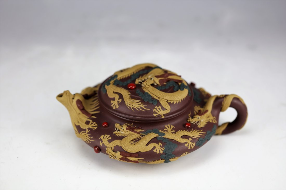 Zisha Clay Teapot of Nine Dragons by Zhu Liang - 3